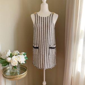 Zara Black & White Striped Tweed Pinafore Dress M